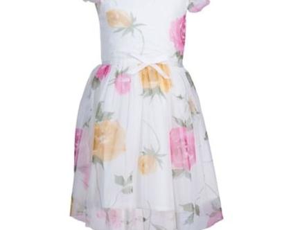 שמלה מסתובבת לילדה   שמלה פרחונית לילדה   שמלת רשת מודפסת עם שרול קצר
