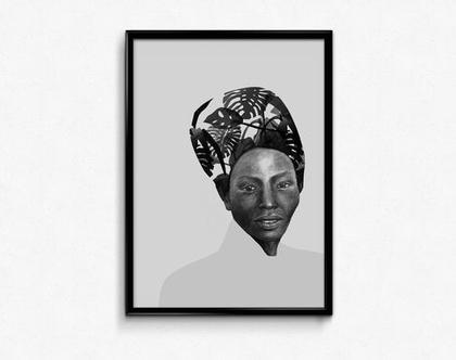פוסטר שחור לבן, פוסטר מעוצב, הדפס ציור מקורי, עיצוב הבית, תמונה צבעונית, ציור פורטרט, יופי אפריקאי