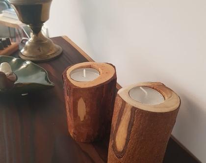 פמוטים- בול עץ טבעי ומעוצב כמעמד לנר