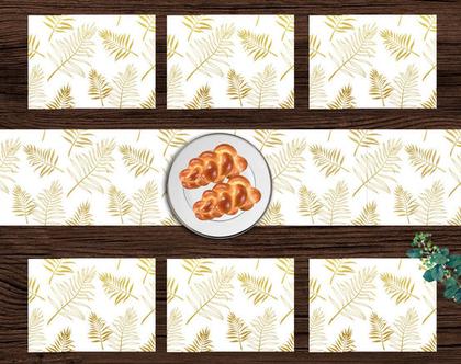 מבצע לחג ♥ סט ראנר ופלייסמטים בעיצוב חגיגי | ראנר ויניל מעוצב לשולחן | ראנר מבודד חום | ראנר לשולחן האוכל