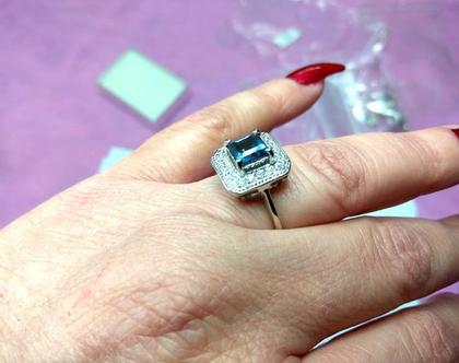 טבעת קוקטייל כסף 925 בשיבוץ בלו טופז סוליטר מידה 8
