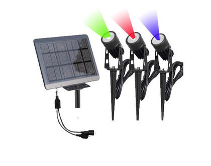3 זרקורי לד (LED) סולאריים צבעוניים