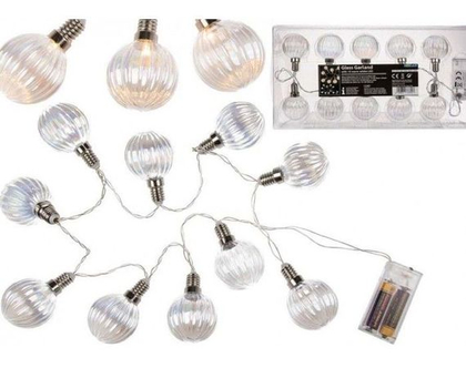 שרשרת לד (LED) דקורטיבית עם נורות זכוכית