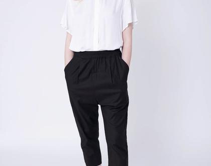 מכנסי מאיה קיץ באורך 7/8, מכנסי כותנה לקיץ, מכנסיים שחורים, מכנסיים יפים לקיץ, מכנסי קיץ