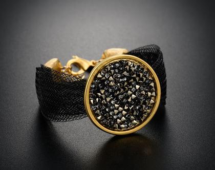צמיד שחור גדול וקל , ציפוי זהב 18 k קריסטלים סברובסקי צבע כסוף זהב