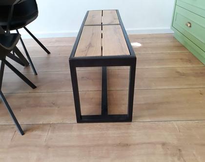 ספסל/שולחן מסגרינה מעץ אלון ובוק עם רגלי מלבן | ספסל לפינת אוכל | ספסל לאמבטיה | ספסל לחדר שינה | ספסל פסנתר