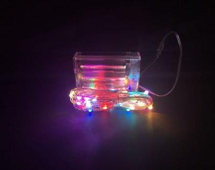 שרשרת נורות לד (LED) סוללות במגוון צבעים 6 מטר