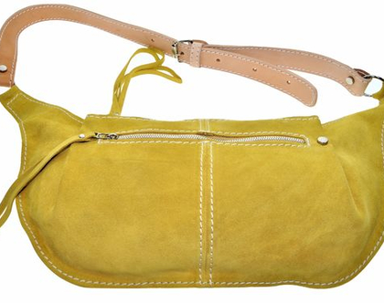 Leather cross-body bag / pouch / fringed zippered pocket