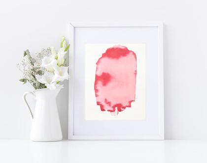 ציור מופשט אדום לבן על נייר