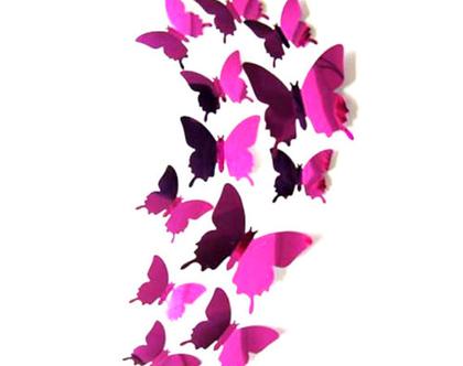 מדבקת קיר תלת מימדית / מדבקה לחדר / פרפרים בצבע סגול / פרפרים דגם מראה / עיוצוב לבית / עיצב למשרד / עיצוב לחדר מדרגות