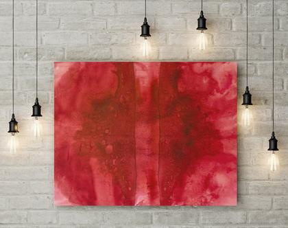 ציור מופשט אדום על קנבס