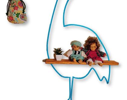 מדף מברזל ועץ - מדף חסידה דקורטיבי לחדרי ילדים