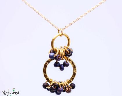 שרשרת גולדפילד תליון חישוקים, שרשרת מיוחדת, שרשרת מעוצבת, שרשרת עיגולים, מתנה לאישה