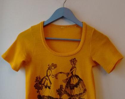 חולצת סריג סיקסטיז לאישה 20% הנחה | חולצת סריג וינטג' בהדפס ציור עתיק מידה XS