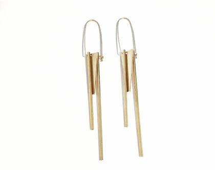 Outline triple earrings