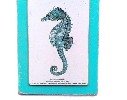 סוסון ים, וינטג' על עץ |תמונה|עיצוב|מתנה|