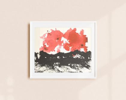 ציור מופשט אדום שחור לבן על נייר