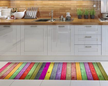 שטיח פי.וי.סי מעוצב דגם Colorful wood pattern | שטיח למטבח | שטיח פי.וי.סי לבית | שטיח PVC צבעוני