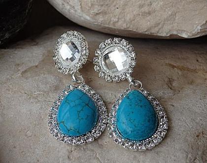 עגילים כחולים טורקיז ארוכים , תכשיטים לערב , קריסטל וטורקיז , עגילים מאבנים אמיתיות, עגילים מאבני חן, עגילי טורקיז אמיתי