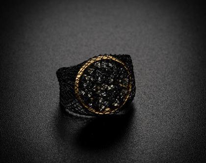 טבעת קריסטלים סברובסקי כסופים ומוזהבים , ציפוי זהב 18 קארט