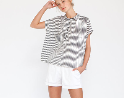 חולצת פונצ'ו פסים - פסים שחור לבן