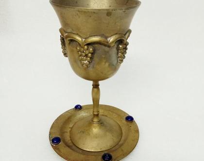 כוס קידוש עתיק עשוי כסף נמוף מהמם במצב טוב כוס לשבת עם הצלחת מקורית וינטג' אמיתי