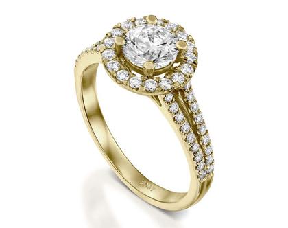 טבעת אירוסין הילה מתפצלת NADINE