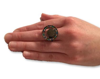 טבעת רטרו חישוק צבעוני, טבעת עדינה משובצת , טבעות נשים, טבעת ניתנת להרחבה,Nickel free
