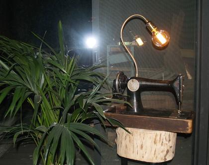 גוף תאורה , מכונת תפירה , גוף תאורה מעוצב , מנורת פחם , מכונת תפירה ישנה , גוף תאורה שולחני