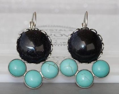 עגילים אבני טורקיז,עגילים תלויים,עגילי וינטג',עגילים עם אבן שחורה