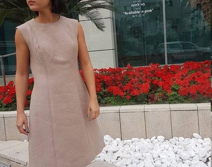 שמלה קלאסית, שמלה וינטג', שמלה צבע בז' רוז גולד, שמלה ללא שרוול, שמלה מתחת לברך, שמלה לאירוע, שמלה לאירוע יום, שמלה מידה גדולה, שמלה מידה L