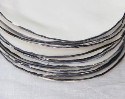 סט של 8 צלחות פורצלן לבנות - עבודת יד