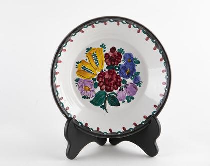 צלחת אוסטרית מצויירת ביד Gmundner Keramik