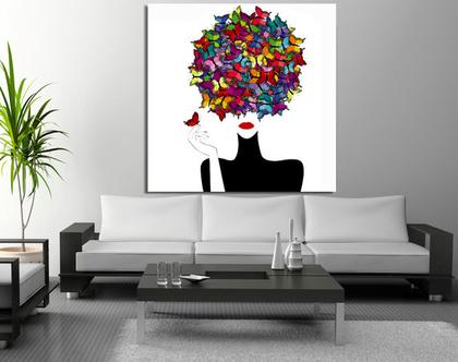 תמונת קנבס ♥ Butterflies in head  תמונה מיוחדת לסלון  תמונת קנבס ראש של אשה   תמונת ראש של אשה