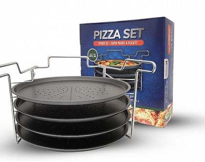 סט פיצה LA PIZZA הסט כולל 4 מגשי פיצה בקוטר 29 סמ - משלוח חינם