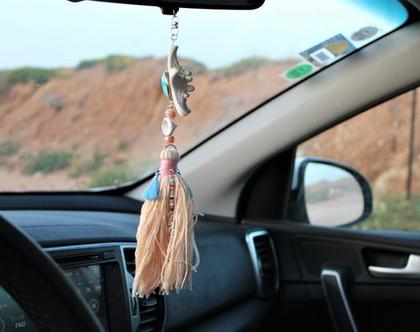 תליון קישוט לרכב עבודת יד עם שילוב צדפים חרוזים תליונים