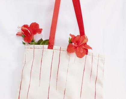 תיק בד עם ציור אדום בעבודת יד