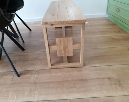ספסל/שולחן ריבוע בריבוע מעץ אלון | ספסל לפינת אוכל | ספסל לאמבטיה | ספסל לחדר שינה | ספסל פסנתר