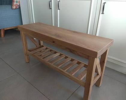 ספסל מעץ אלון מבוקע דגם דורית /ספסל לאמבטיה/ספסל לכניסה לבית