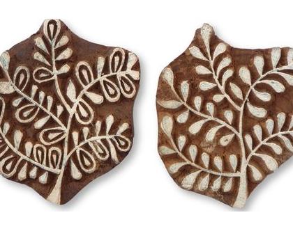 חסר - חותמת גדולה של שיח או עץ מגולפת, עשויה עץ, תוצרת הודו