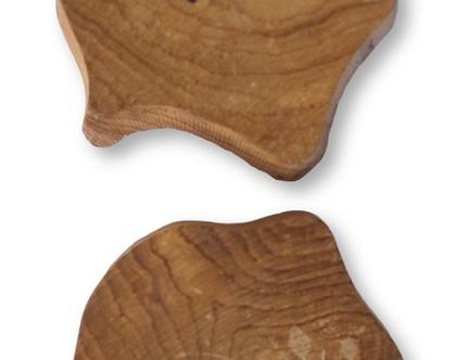 חותמת גדולה עלעלים של שיח או עץ מגולפת, עשויה עץ, תוצרת הודו