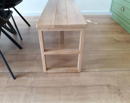 ספסל/שולחן שמונה אלון מעץ אלון | ספסל לפינת אוכל | ספסל לאמבטיה | ספסל לחדר שינה | ספסל פסנתר