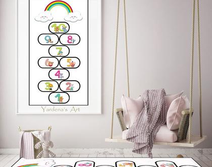 שטיח קלאס | שטיח משחק קלאס בעיצוב מקורי - שטיח פי.וי.סי לחדר ילדות | שטיח משחק לחדר של ילדה|מתנה לילדה ***השילוח חינם***