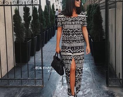 שמלת מקסי, שמלה שחור לבן, שמלה שרוול קצר, שמלה עם שסע, שמלת וינטג', שמלה עם הדפס, מידה S, שמלה לקיץ