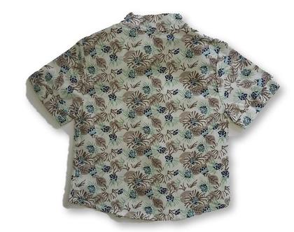 חולצה פרחונית לילדים גווני אבן צווארון סיני