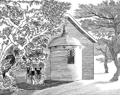 חצר מקדש- איור מקורי