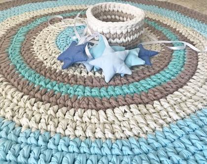 שטיח סרוג לחדר הילדים שטיח וכוכבים , ,שטיח לחדר ילדים, שטיח עגול , שטיח עגול סרוג, שטיחים סרוגים, שטיח תורכיז , אפור ומוקה