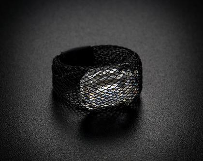 טבעת מלבן גדול קריסטל סברובסקי