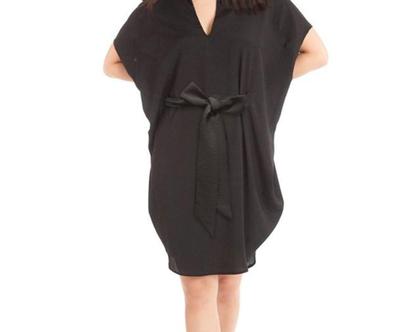 שמלת גלוריה שחורה שרוול קצר, שמלת אוברסייז, שמלה ערב קייצית, שמלה לאירוע