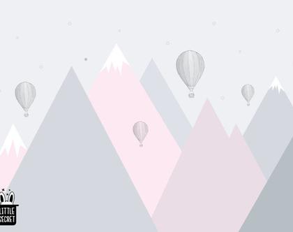 טפט הרים גאומטרי וכדורים פורחים ורוד